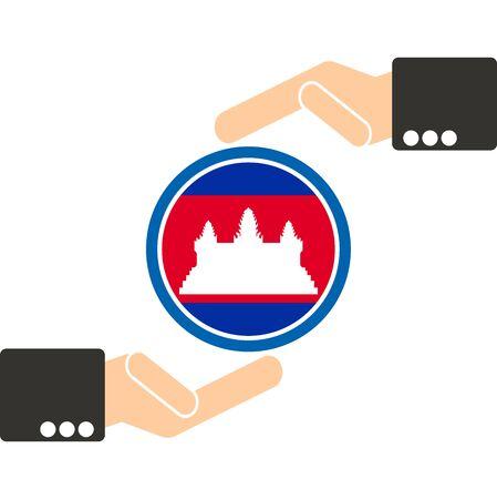 joined hands: mano de negocios con la bandera de Camboya Vectores
