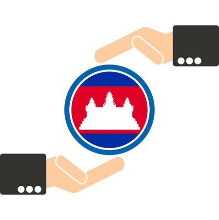 businessman hand with Cambodia flag