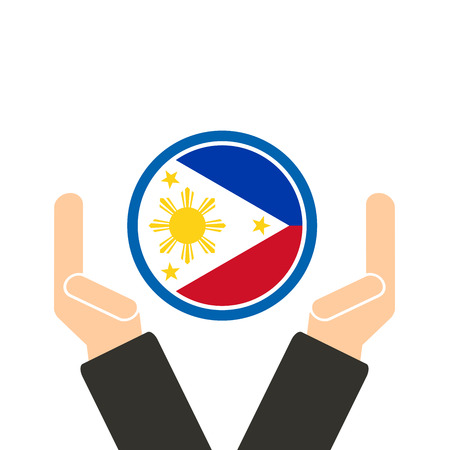 seaa: businessman hand with Philippines flag Illustration