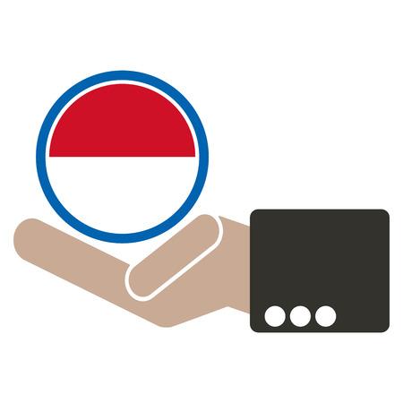 manos unidas: empresario de la mano con la bandera de Indonesia