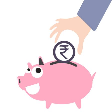 putting: Piggy bank and business hand putting money, currency Rupee symbol for saving concept in vector Illustration