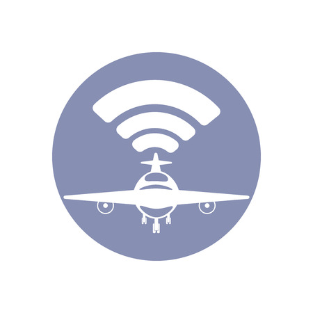 connectivity concept: Wifi network connection symbol sign icon pictogram for presentation in vector, BYOD connectivity concept, service in plane