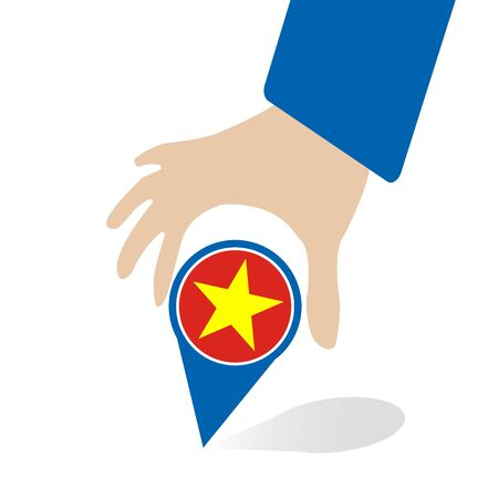 businessman hand pin with Vietnam flag
