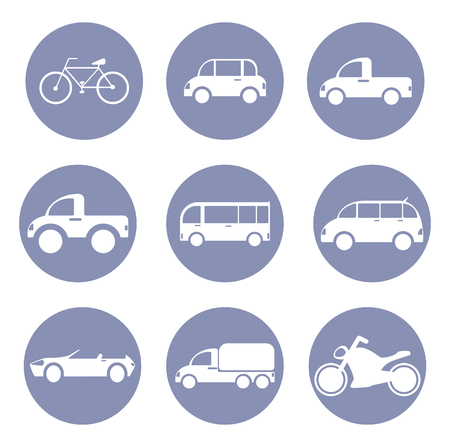 mini bike: Car or vehicle icon set, for design presentation in vector Illustration