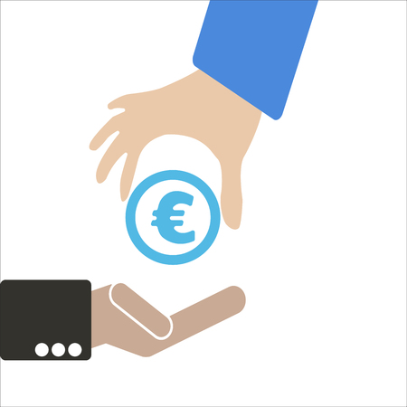 foreign exchange rates: Human hand keep currency Euro symbol for market and stock money exchange concept in vector