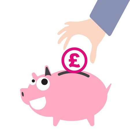 pound symbol: Piggy bank and business hand putting money, currency Pound symbol for saving concept in vector