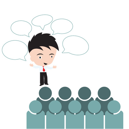 call out: Businessman talking with bubble call out for meeting brainstorm with group people, professional Success changed management Concept on white background