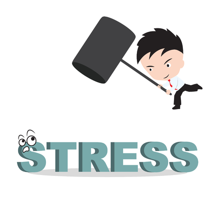 smash: Businessman holding hammer and aiming to smash the wording STRESS, reduce costing concept Illustration