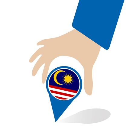 businessman hand pin with Malaysia flag
