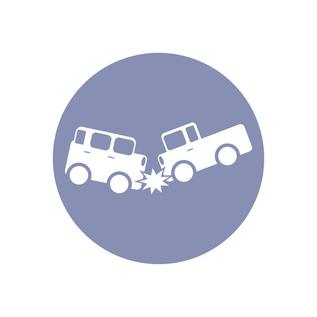 Accident icon Symbol Sign Pictogram, Insurance safety concept pictogram in vector, car crash