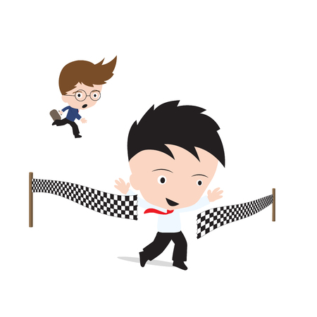 competitor: businessman happy and crossing the finish line over competitor, successful concept Illustration