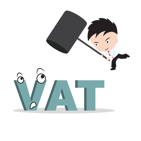 vat: Businessman holding hammer and aiming to smash the wording VAT, reduce costing concept Illustration