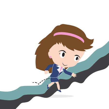 obstacle: Happy business woman jumping over gap of cliff or obstacle to success concept