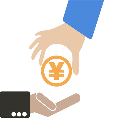 keep in: Human hand keep currency Yen symbol for market and stock money exchange concept in vector