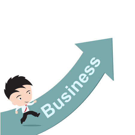 exciting: businessman happy to running on green arrow with word business, road to success concept, presented in vector form Illustration