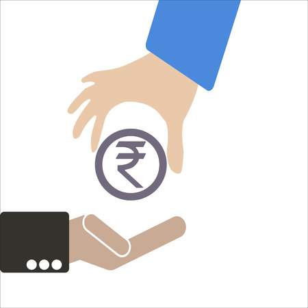 keep in: Human hand keep currency Rupee symbol for market and stock money exchange concept in vector