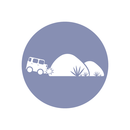 toxic accident: Accident icon Symbol Sign Pictogram, Insurance safety concept pictogram in vector, car crash with tree or rock