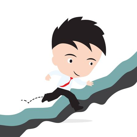 obstacle: businessman happy to jumping over gap of cliff or obstacle to success concept, presented in vector form