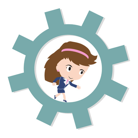 happy business woman: Happy business woman running on gear, business working concept