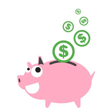 piggy bank: Piggy bank money happy, currency Dollar symbol coin falling for saving concept in vector