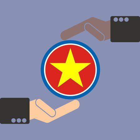 businessman hand with Vietnam flag