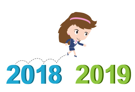 happy business woman: Happy business woman running from 2018 to 2019, new year success concept, vector