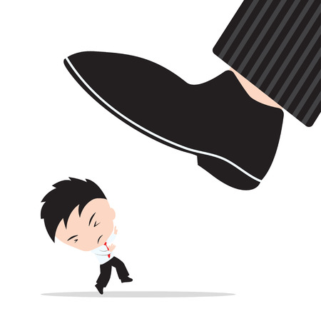 Businessman, worry and fear the shoes of boss stomp, abstract of business competition target concept