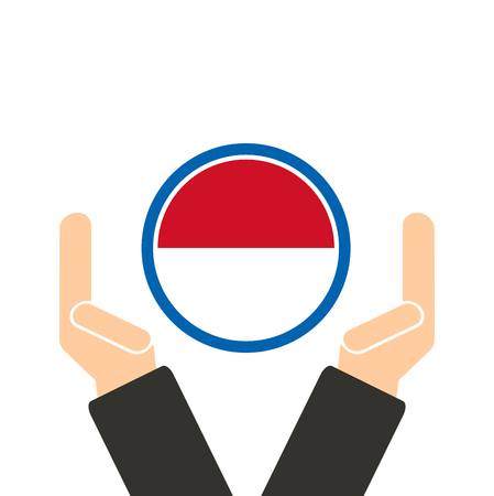 seaa: businessman hand with Indonesia flag