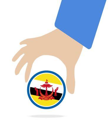 manos unidas: mano de negocios con la bandera de Brunei