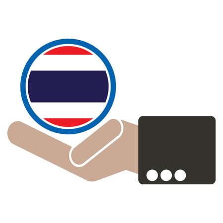 manos unidas: mano de negocios con la bandera de Tailandia Vectores
