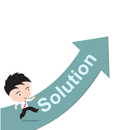 straight path: businessman happy to running on green arrow with word Solution, road to success concept, presented in vector form Illustration