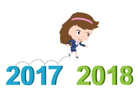 happy business woman: Happy business woman running from 2017 to 2018, new year success concept, vector