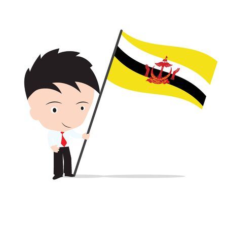 Businessman standing and, holding flag of Brunei Illustration