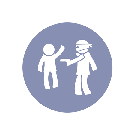 robbed: Accident icon Symbol Sign Pictogram, Insurance safety concept pictogram in vector, people robbed by thief Illustration