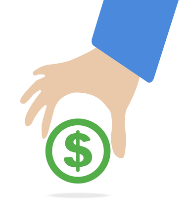 keep in: Human hand keep currency Dollar symbol for market and stock money exchange concept in vector