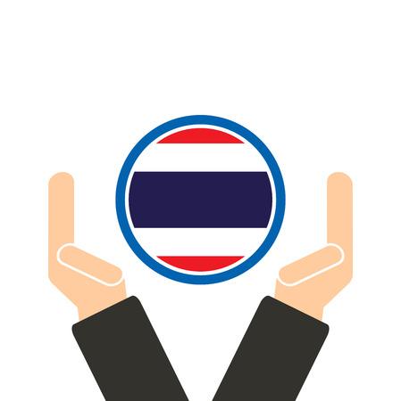 joined hands: mano de negocios con la bandera de Tailandia Vectores