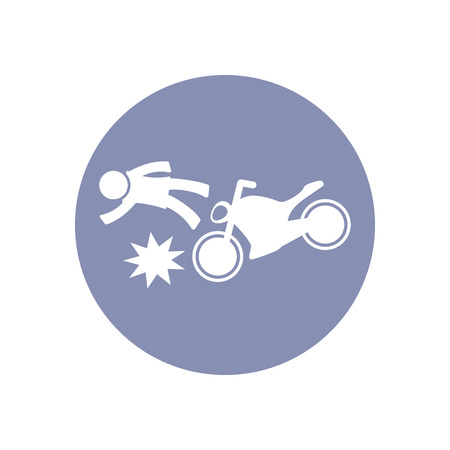 toxic accident: Accident icon Symbol Sign Pictogram, Insurance safety concept pictogram in vector, people crashed by motorcycle