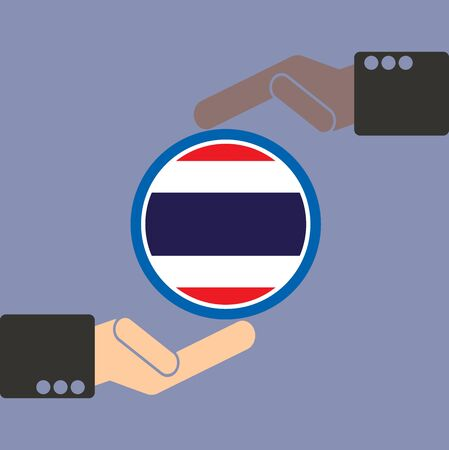 seaa: businessman hand with Thailand flag