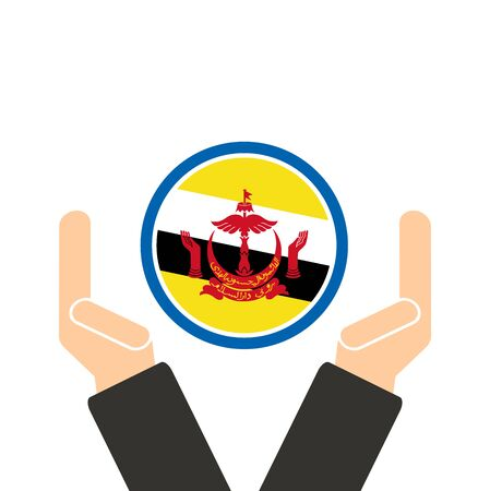businessman hand with Brunei flag Illustration