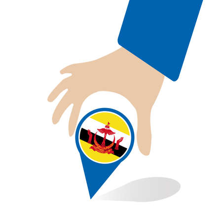 seaa: businessman hand pin with Brunei flag