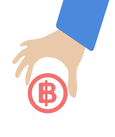 keep in: Human hand keep currency Baht symbol for market and stock money exchange concept in vector