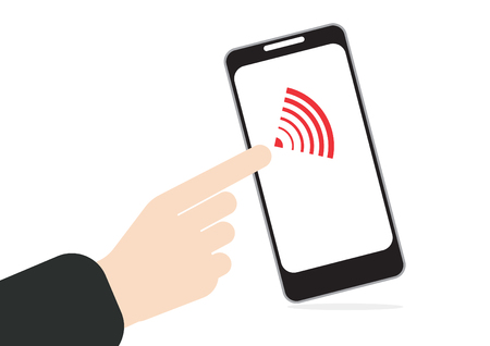 surfing the net: hand pushing on touch screen at mobile phone with wifi signal in vector Illustration