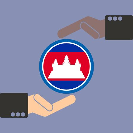 seaa: businessman hand with Cambodia flag