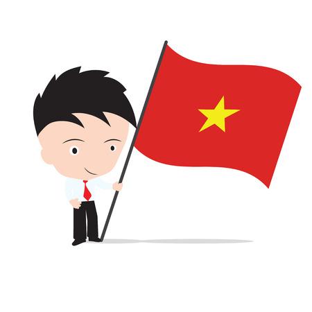 Businessman standing and, holding flag of Vietnam Illustration