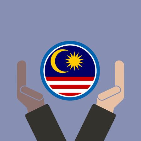 businessman hand with Malaysia flag Illustration