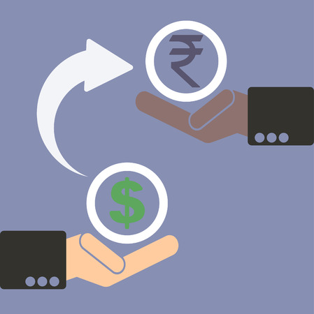 foreign exchange rates: Human hand with currency symbols for market and stock money exchange concept in vector, dollar to rupee