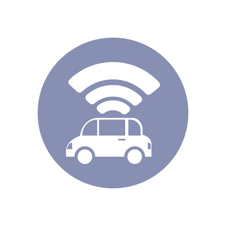 wireless hot spot: Wi-Fi network connection symbol sign icon pictogram for presentation in vector; BYOD connectivity concept, service in car
