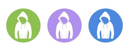 hooded top: Sweatshirt hood Beauty fashion flat icon pictogram, for design presentation in vector