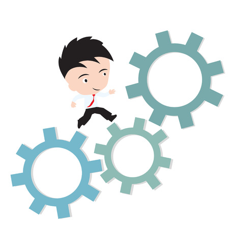 affairs: businessman happy to running on gear, business working concept, presented in vector form