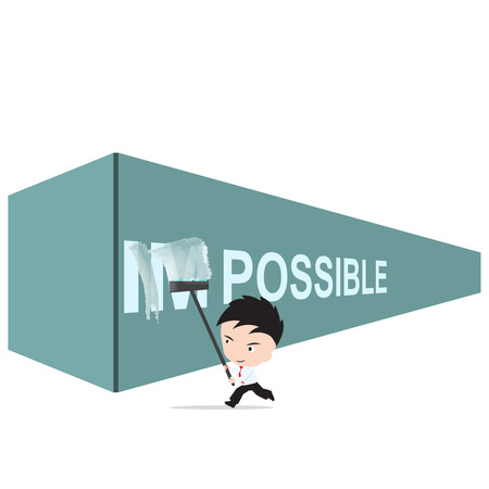 feasible: Businessman turning the word Impossible into Possible on the wall painting